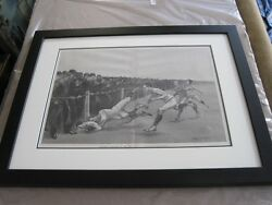 Yale Princeton Antique Engraving Frederic Remington Harpers Weekly 1890 Football