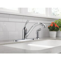 Delta Classic Chrome Low-arc Kitchen Faucet With Side Spray