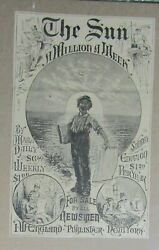 1882 The Sun New York Weekly Magazine 5x8 Cover Only Vg+ 4.5