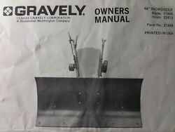 Gravely Garden Tractor 48 Dozer Push Plow Blade Implement Owner And Parts Manual