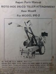 Roto-hoe 910 Walk-behind Tractor Rear Mount Tiller Implement 910 Cd Parts Manual