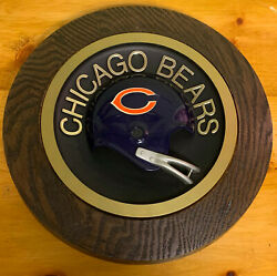 Vintage 1970s Nfl Chicago Bears Round Wall Hanging Helmet Plaque Rare