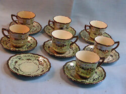 Cumbow Vintage Hand Painted Pocahontas Copper Luster Demitasse 7 Cup And 8 Saucer