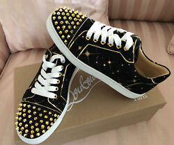 Christian Louboutin Vieira Spikes Flat Black Gold Suede Lace Up Low Sneaker 37