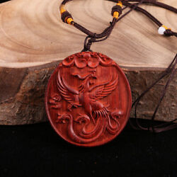 Chinese Red Sandalwood Hand-carved Auspicious Animals Phoenix Necklaces Pendants