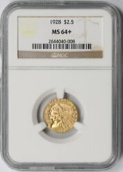 1928 Indian Head Quarter Eagle Gold 2.5 Ms 64+ Plus Ngc
