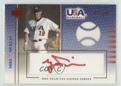 2003 Upper Deck Usa Baseball Team Signed Jerseys Red Ink /350 Mike Nickeas Auto