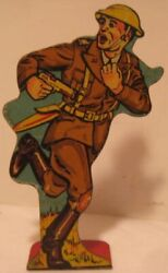Old Marx Tin Target Soldier - Soldiers Of Fortune Infantry 1st Lieutenant 20 Pts