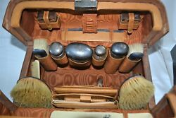 Antique British Gentlemanand039s Travel Grooming Set Sterling Silver 1908-1909