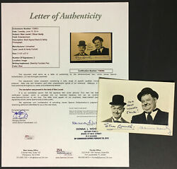 Stan Laurel And Oliver Hardy Signed Autographed Photo Personal Inscription Jsa Loa