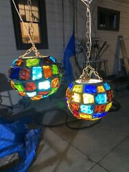 Two Vintage Mid Century Nader / Marsh Style Chunk Glass Swag Hanging Lamp Shades