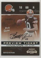 2007 Leaf Limited Contenders Ticket Preview /25 Brady Quinn Rtp-6 Rookie Auto