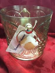 Nwt Flawless Exquisite Tommy Bahama Green Glass Pineapple Ice Wine Bottle Bucket
