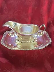 Exceptional Vintage Silver Plated Pedestal Gravy Sauce Boat And Under-plate