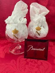 Flawless Stunning Baccarat Two Napoleon Gold N Crown Brandy Cognac Tasting Glass