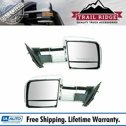 Trail Ridge Towing Mirror Power Heated Signal Chrome Pair For Toyota Tundra New