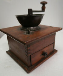Antique Wood And Iron Coffee Double Grinder W/drawer Thomas Parker Original