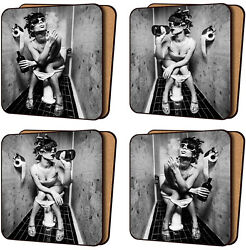 Set Of 4 Placemats Cork Backed Girl Drinking Beer And Smoking Sitting On Toilet