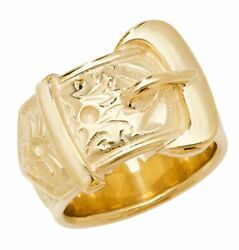 9ct Yellow Gold Mens Buckle Ring