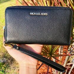 Michael Kors Jet Set Travel Large Flat Zip MF Phone Case Wristlet Wallet Black $58.00