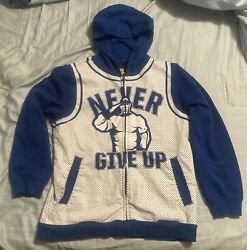 Wwe John Cena Never Give Up Full Zip Hoodie Blue / White Size Small S
