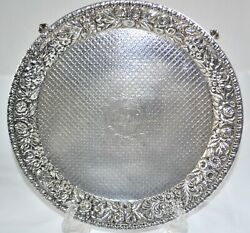 Antique Kirk And Sons Sterling Silver Full-chased Repousse Footed Salver 10