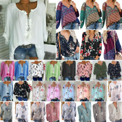 New Summer Boho Womens Solid Tops Blouse Ladies Long Sleeve T Shirt Plus Size