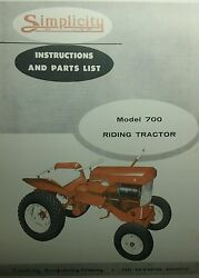Simplicity 700 Riding Lawn Garden Tractor And Implements Owner And Parts Manual 1959
