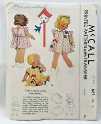 1939 Mccall Sewing Pattern 681 Childs Apron Dress And Panties Sz 1 20 Breast 7113f