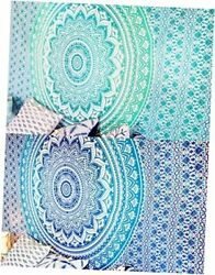 Set of 2 Boho Tapestry or Mandala Tapestry Wall Hanging Indian 2 Blue and Green