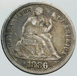 1886 United States Us Silver Seated Liberty Genuine Antique Old Dime Coin I87603