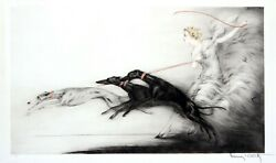Louis Icart | Speed | Original Drypoint Etching With Hand Coloring On Paper