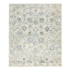 8'x10' Silk With Textured Wool Ivory Tebraz Hand Knotted Oriental Rug R58930