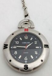 Cherokee Quartz Pocket Watch Brushed Metal Compass Face Stainless Steel Case