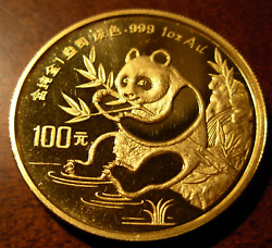 China 1991 Gold 1 Oz Panda 100 Yuan Unc With Minor Hairlines