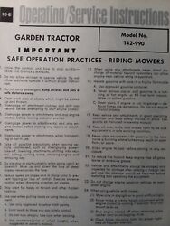 Mtd 1500 Fifteen Hundred Hydro Garden Tractor Owner And Parts Manual 142 990 15h.p