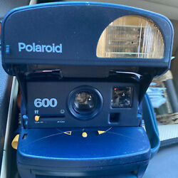 Vintage Polaroid One Step Express 600 Instant Film Camera With Flash -blue