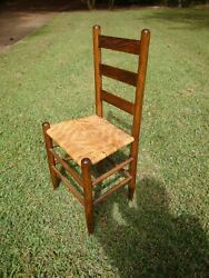 Set Of 4 Vintage Oak Chairs W/ Cane Seats And 3 Back Slats Made Usa In Late 1800s