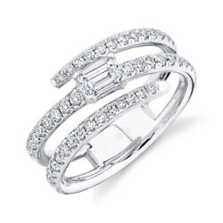 Emerald Diamond Wrap Cocktail Ring 14k White Gold 0.88ct Natural Round Pave Band