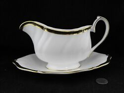 Wedgwood Windsor Black Gravy Boat With Underplate