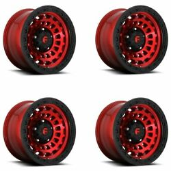 Set 4 18x9 Fuel D632 Zephyr Candy Red Black Ring 5x150 Truck Wheels +1mm W/ Lugs