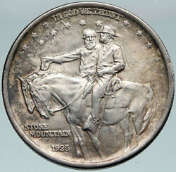 1925 Usa Stone Mountain Generales Lee And Jackson Silver Half Dollar Coin I87331