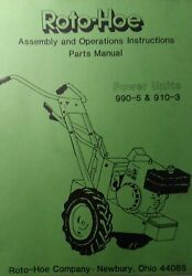 Roto-hoe 990-5 910-3 Tractor And Snow Thrower Implement Owner And Parts 2 Manual S
