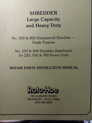 Roto-hoe 990 910 220 Tractor 559 809 Chipper Shredder Impl Owner And Parts Manual