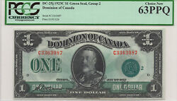 ✪ 1923 1 Dominion Of Canada Green Seal Series C Dc-25j - Pcgs Unc-63 Ppq