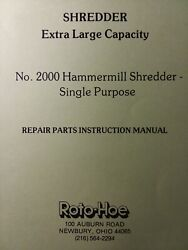 Roto-hoe 2000 Large Capacity Hammermill Chipper Shredder Owner And Parts Manual