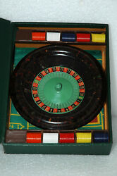Vintage Lowe Miniature Bakelite Roulette Wheel Game W/ Ball Chips And Storage Box