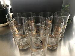 Vintage National Champions Glass Set Of 8 From-1952 And 1953