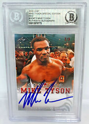 Mike Tyson Signed Leaf Trading Card Semt3 Beckett Bas Le 5 Red Authentic