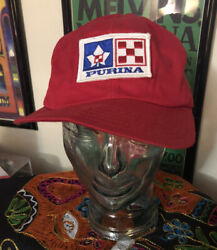 Vintage Purina Advertising Patch Hat 70's 80's Cracked Brim